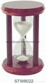 Hourglass sand timer with wooden frame