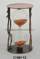 eatime sand timer with round copper metal frame and orange sand-STM8713