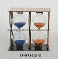 Teatime sand timer with metal frame for