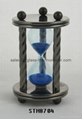 Decorative sand timer with round metal
