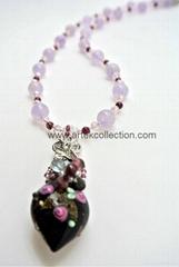 AN-642 紫玉玫瑰花琉璃項鍊