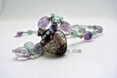 AS-006 漂亮的天河石紫水晶精油項鍊