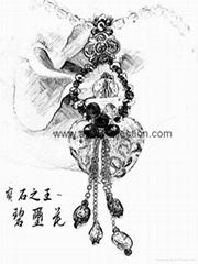 AN-726 碧璽花 琉璃瓶項鍊