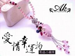 AN-592  天然粉晶聚寶瓶(小蘋果)!!