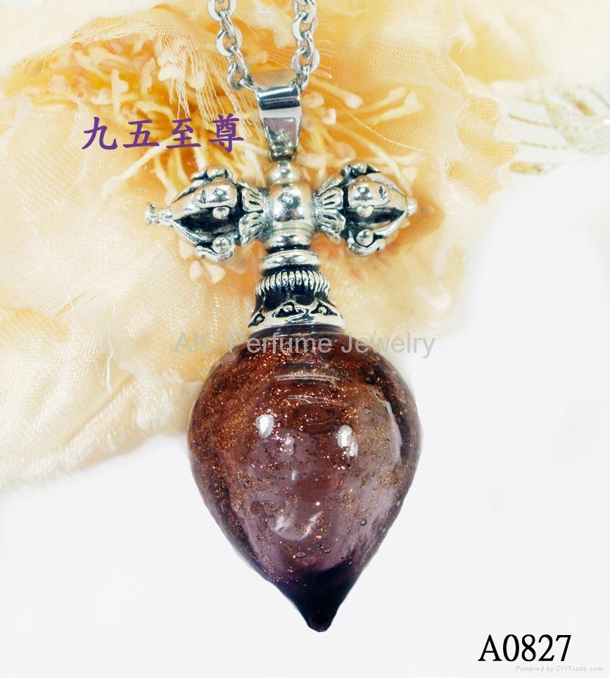 AK~香氛珠宝琉璃精油瓶项链时尚精品毛衣吊坠『金刚杵』 4