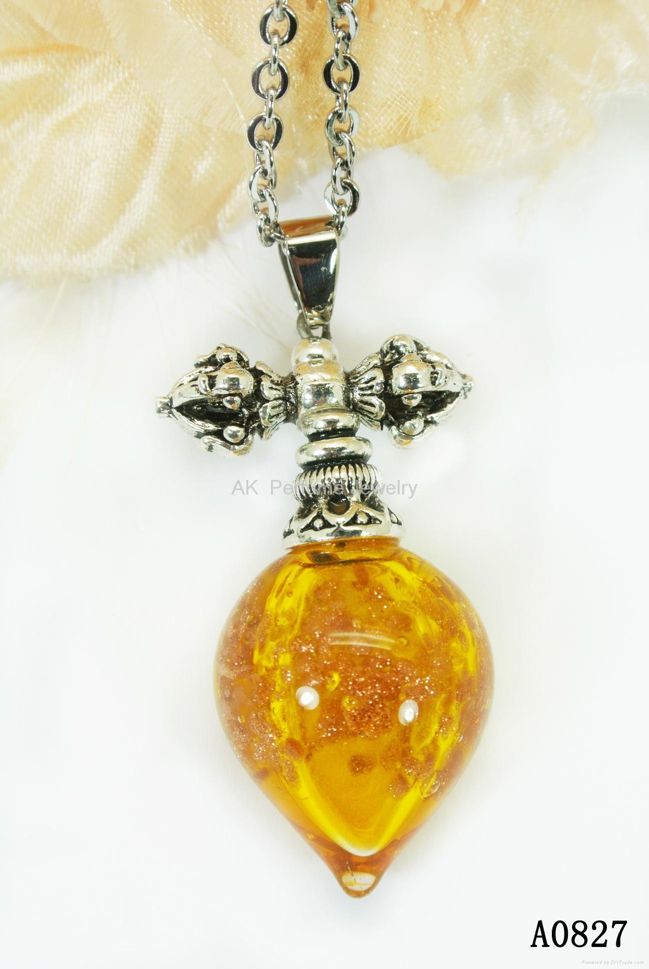 AK~香氛珠宝琉璃精油瓶项链时尚精品毛衣吊坠『金刚杵』 6
