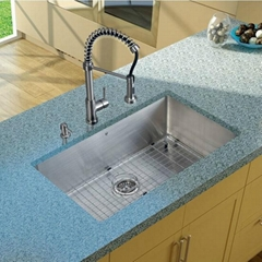 stainless steel handmande round angle kitchen sink