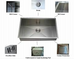 Undermount 304 stainless steel handmade kitchen sink