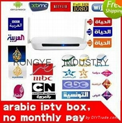 Free no annual fees Arabic IPTV Box, 700 Plus IPTV Arabic Channel TV Box