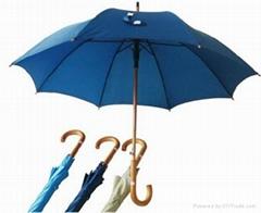 供應23寸自動木中棒直杆廣告傘