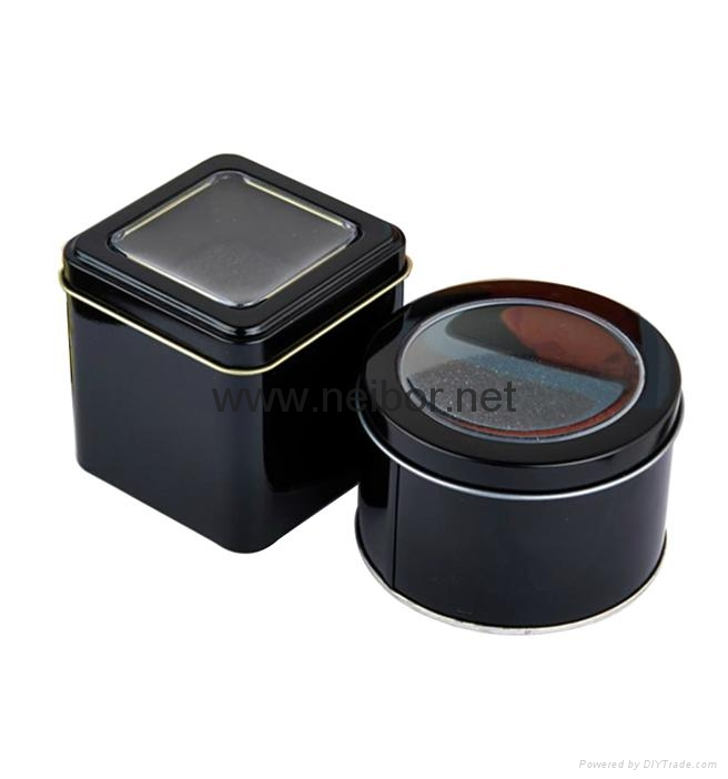 Black color round metal tin watch case watch display box with window and foam 2