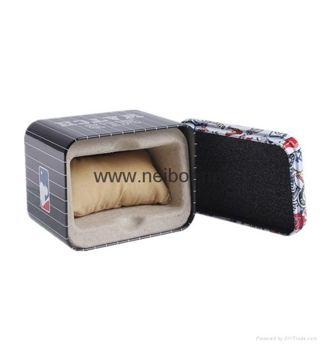 Black color round metal tin watch case watch display box with window and foam 3