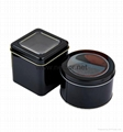 Black color round metal tin watch case