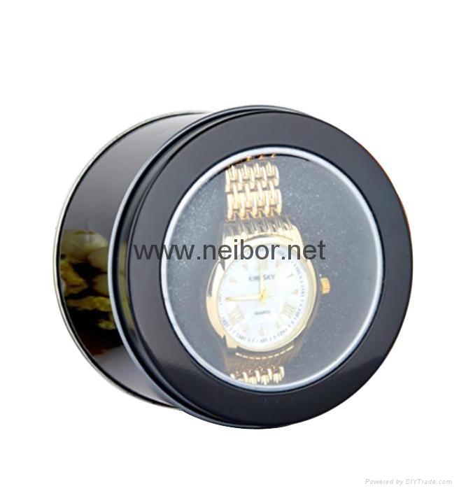 圆形开窗马口铁手表盒带海绵 4