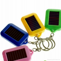 Wholesale Christmas Gift LED Mini Plastic Solar Flashlight Keychain