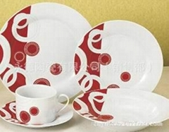 20头白瓷烤花餐具套装