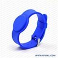 深圳硅胶厂家定制铁扣手表腕带 RFID腕带 高频低频手环 5