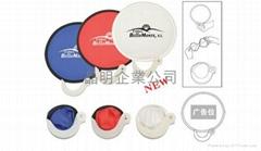 Folding nylon frisbee hand fan
