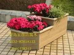 园艺防腐木花盆