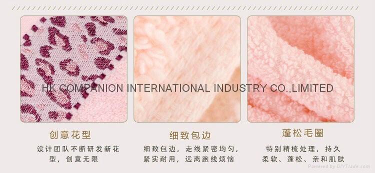 100%全棉豹紋提花活性染色毛巾面巾74x33cm 5