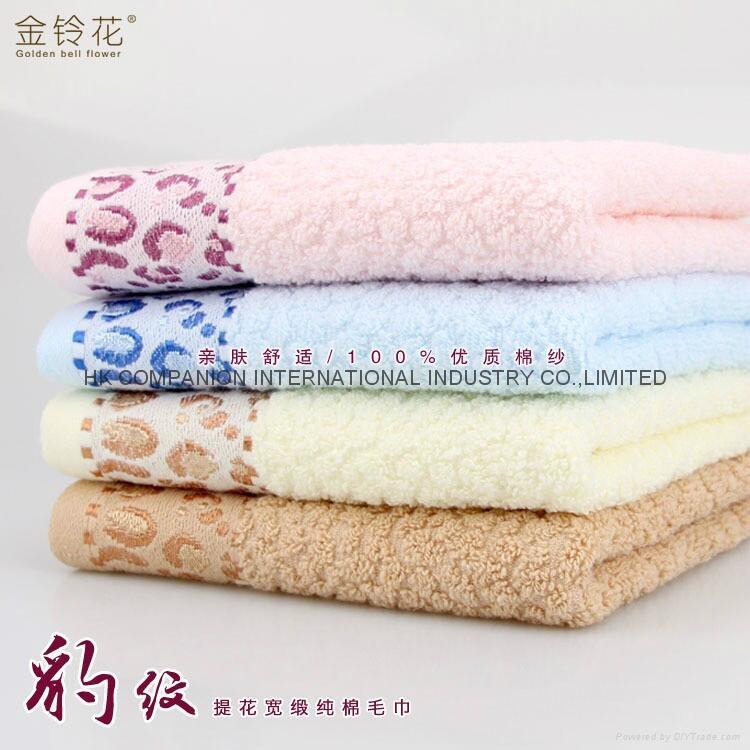 100%全棉豹紋提花活性染色毛巾面巾74x33cm 1