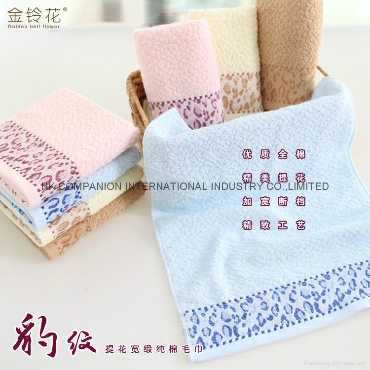 100%全棉豹紋提花活性染色毛巾面巾74x33cm 2