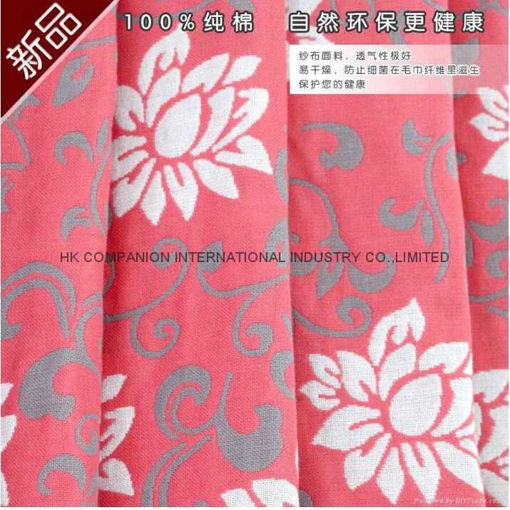 100%三層全棉活性染色布藝毛巾被200x150cm 3