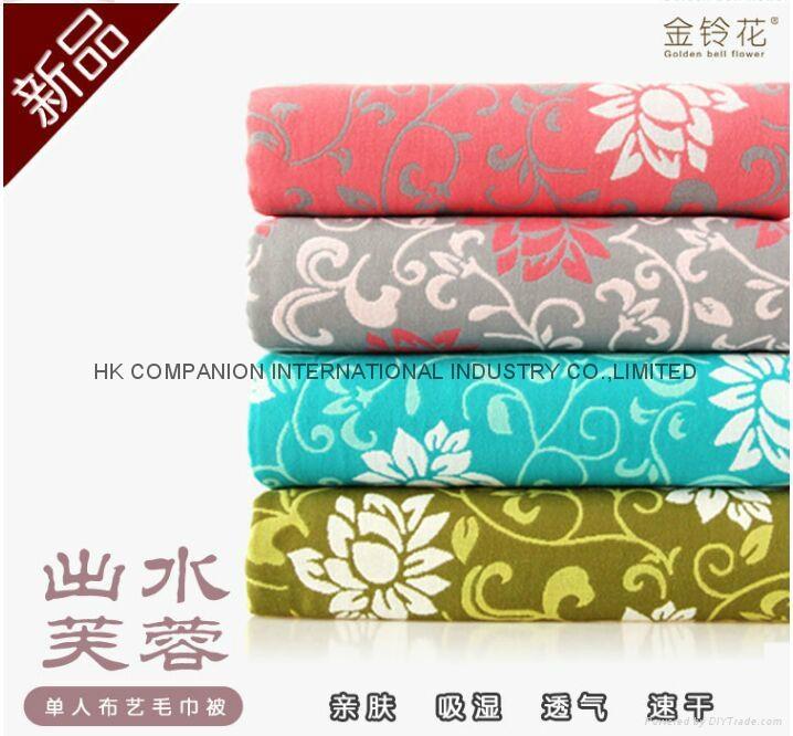 100%三層全棉活性染色布藝毛巾被200x150cm 1