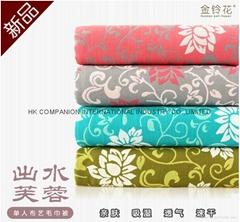 100%三层全棉活性染色布艺毛巾被200x150cm