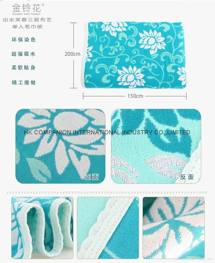 100%三层全棉活性染色布艺毛巾被200x150cm 4