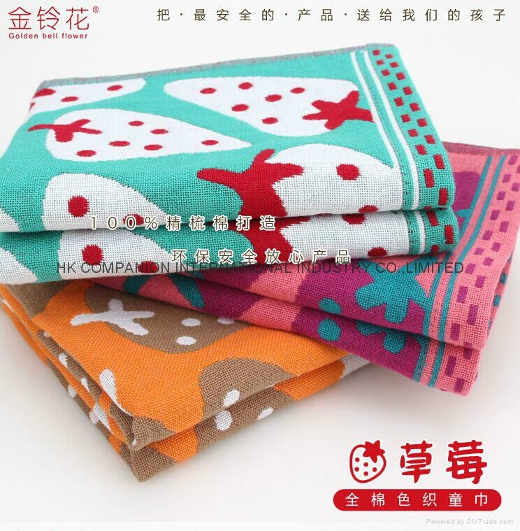 100%三层全棉色织布艺活性染色儿童面巾50x25cm 4