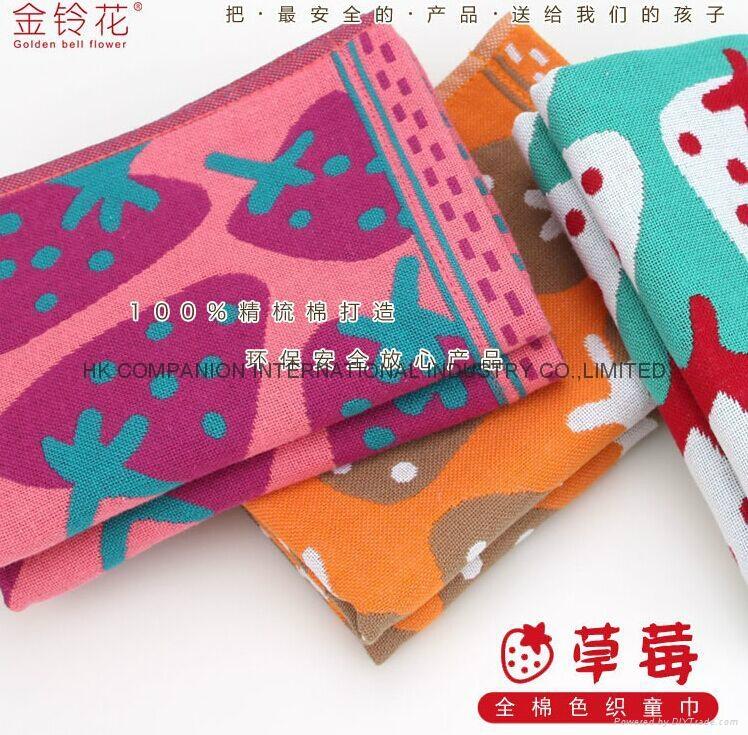 100%三层全棉色织布艺活性染色儿童面巾50x25cm 1