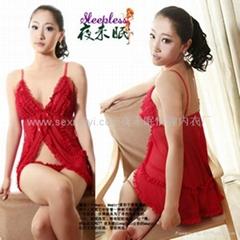 紅色戀人透視開衫情趣內衣套裝