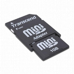 Transcend 1GB MiniSD Card MINI SD Memory cards with MINISD Adapter