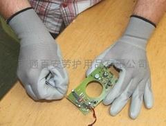 灰色PU普通防護手套