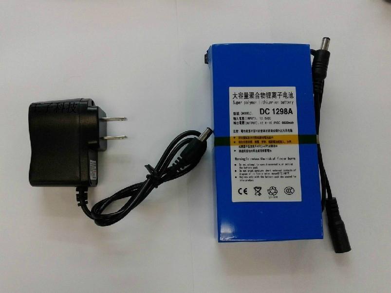 大容量聚合物可充电锂电池 12V 9800mAh 移动电源后备电源DC 1298A  1
