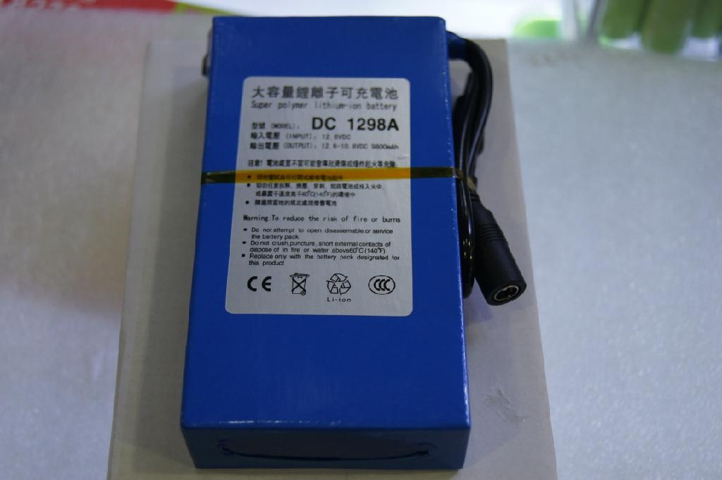 大容量聚合物可充电锂电池 12V 9800mAh 移动电源后备电源DC 1298A  2