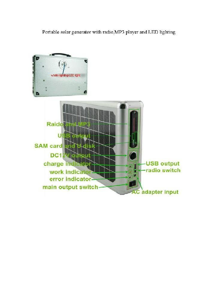 multifunction solar generator with radio,MP3 player and LED lighting 2