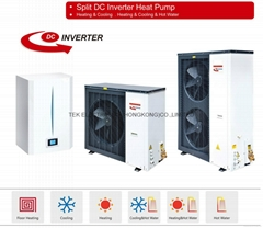 air source DC inverter heat pump/split DC inverter heat pump three in one