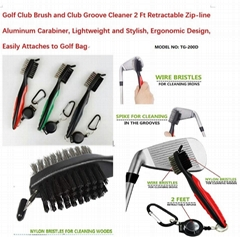 Golf Club Brush and Club Groove Cleaner/carabiner