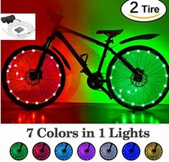 LED Bike Wheel Lights with Batteries! 7 Colors in 1 Light Waterproof RGB LED