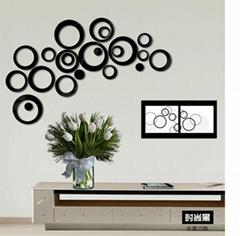 创意圆圈镜面3d立体亚克力墙贴厂家批发 镜面立体墙贴