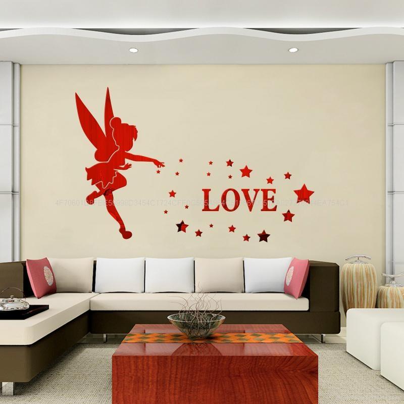3D亚克力小天使立体镜面卧室客厅电视墙卡通动漫墙贴装饰 1