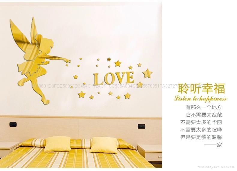 3D亚克力小天使立体镜面卧室客厅电视墙卡通动漫墙贴装饰 2