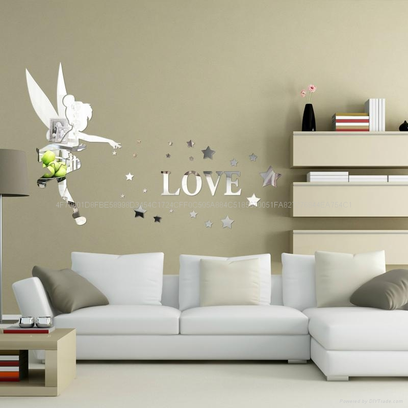 3D亚克力小天使立体镜面卧室客厅电视墙卡通动漫墙贴装饰 3