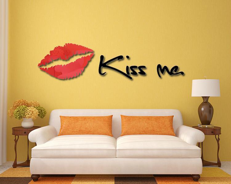 3D鏡面立體亞克力妖艷紅唇牆貼臥室沙發背景牆客廳kissme唇印 1