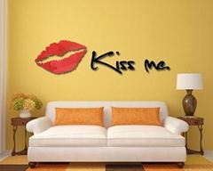 3D鏡面立體亞克力妖艷紅唇牆貼臥室沙發背景牆客廳kissme唇印
