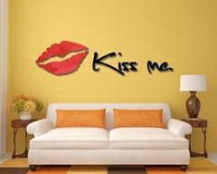 3D镜面立体亚克力妖艳红唇墙贴卧室沙发背景墙客厅kissme唇印
