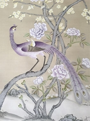 Chinoiserie hand painted silk wallpaper