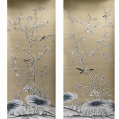 Chinoiserie Hand painted wallpaper on Slub Silk
